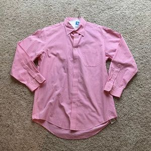 Lands' End Men's Pink Gingham Button Down 15.5-32